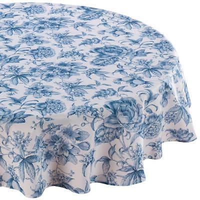 william roberts blue floral toile table cloth