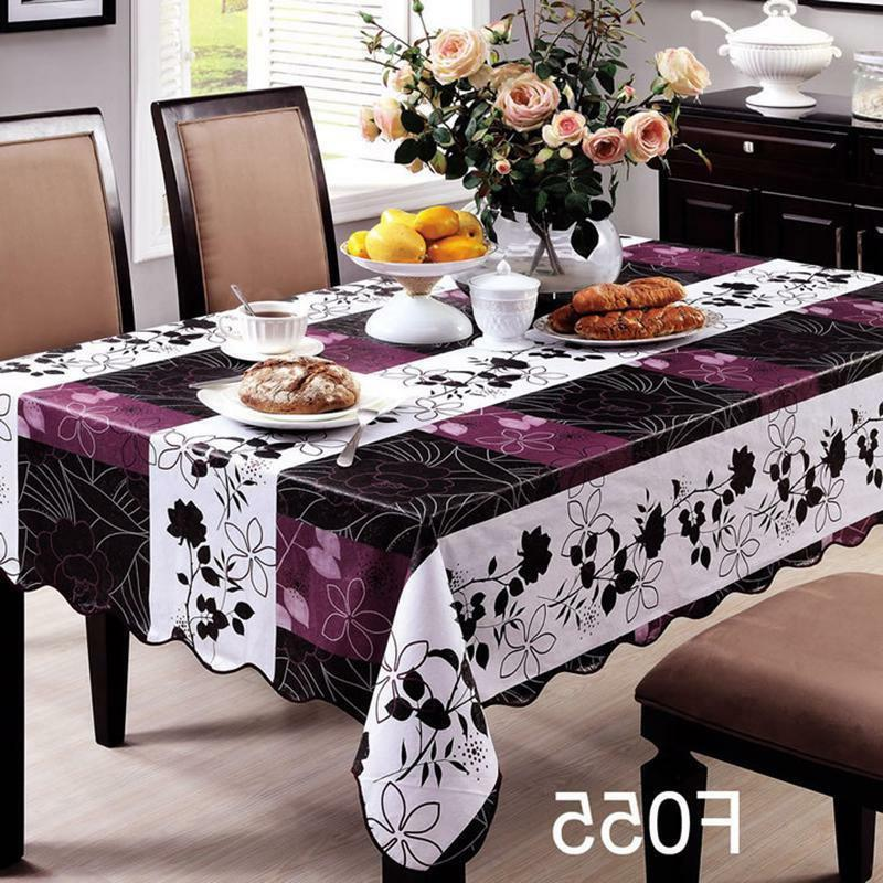 Wipe Table Cloth PVC Tablecloth Dining Kitchen Cover Protector Home