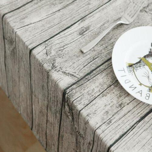 Wood Grain Pattern Cloth Cotton Table Cover For