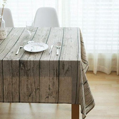 Wood Pattern Cloth Cotton Linen Table Cover