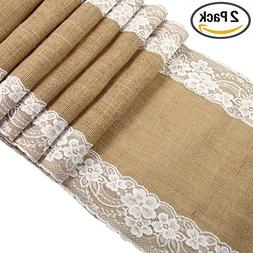 CCTRO Lace Hessian Table Runner, Rustic Natural Jute Country