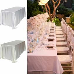 Large Rectangle Satin Tablecloth Wedding Table Cover Cloth B