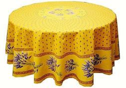 LE CLUNY, LAVENDER YELLOW FRENCH PROVENCE COATED COTTON TABL