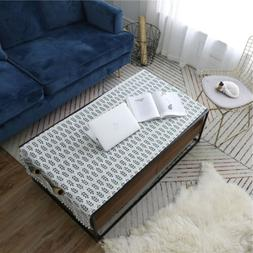 Leaf Printed Cotton Linen Coffee Table Cover Tablecloth Rect