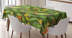 Leaf Tablecloth by Ambesonne, Fresh Brazilian Forest Untouch