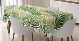 Ambesonne Leaves Decor Tablecloth, Tropical Exotic Palm Tree