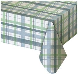 Lexington Plaid Blue Vinyl Tablecloth, 52x90 Oblong