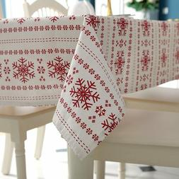 Linen Cotton Printed Pattern Washable Table Cloth Cover Wedd