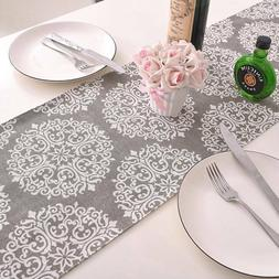 Linen Cotton Table Runner Irregular Decoration Plant Printed