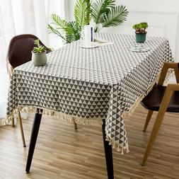 Linen Rectangle Tablecloth DustProof Table Cover Cloth for P