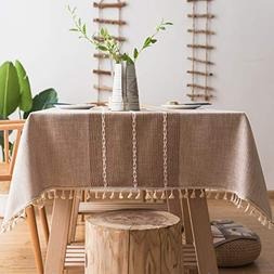 fiercewolf Linen Rectangle Tablecloth Tassel Table Cloth Hea