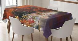 Lively Fabric Tablecloth by Ambesonne 3 Sizes Rectangular Ta