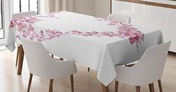 Ambesonne Love Decor Tablecloth by, Floral Love Shape Heart