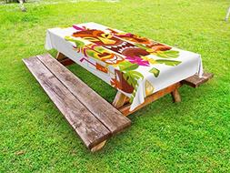 Ambesonne Luau Outdoor Tablecloth, Three Grimacing Tiki Part