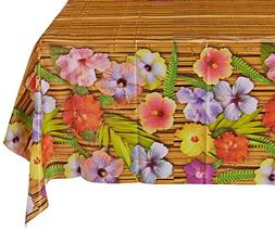 """Beistle Luau Tablecover 54"""" x 108"""", Plastic - 12 Pack"""