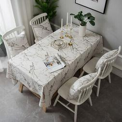 Marble Printed Tablecloth Table Cloth Cover Kitchen Dining R