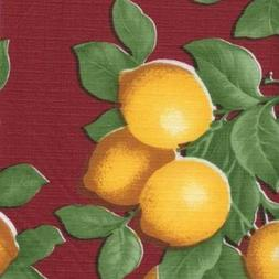 "Maroon Lemons Series F0210 Vinyl Tablecloth 54"" X 45' Roll"