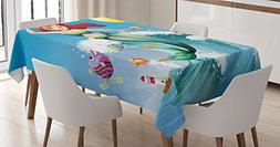 Mermaid Decor Tablecloth by Ambesonne, Illustration of Cute