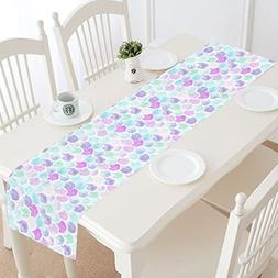 InterestPrint Mermaid Fish Scale Table Runner Home Decor 14