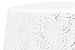 """Mermaid Scales 120"""" Round with seams Round Tablecloth - Whit"""