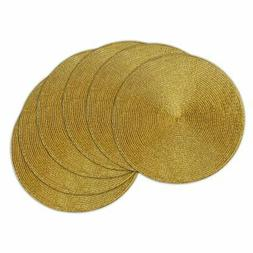 DII Metallic Gold Round Woven Placemat - Set of 6