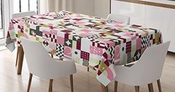 Ambesonne Mid Century Tablecloth, Colors and Geometrical Art