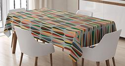 Ambesonne Mid Century Tablecloth, Simple Two Colored Drop Sh