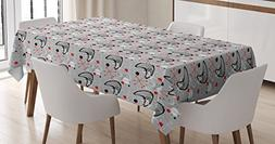 Ambesonne Mid Century Tablecloth, Scientific Inspirations in