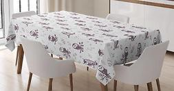 Modern Contemporary Tablecloth Ambesonne 3 Sizes Rectangular