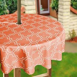 Eforcurtain Modern Geometric Floral Outdoor Fabric Table Cov