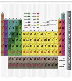 Ambesonne Modern Shower Curtain, Periodic Table of Elements