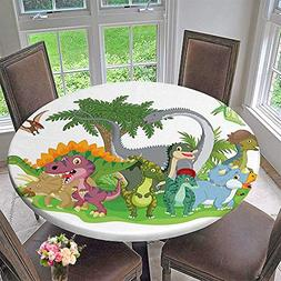 Mikihome Modern Simple Round Tablecloth Group Dinosaur Frien