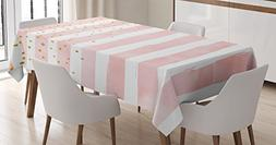 Modern Tablecloth by Ambesonne, Striped Pattern in Pastel Co