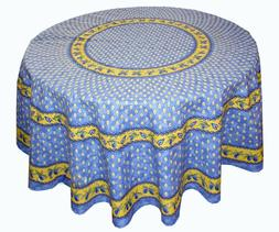 LE CLUNY, MONACO BLUE FRENCH PROVENCE COATED COTTON TABLECLO