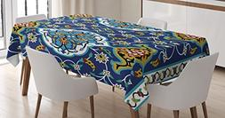 Moroccan Tablecloth Decor by Ambesonne, Authentic Oriental M