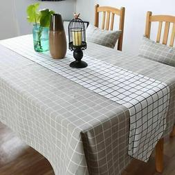 Multi Sizes Cotton Linen Tablecloth Checked Plaids Kitchen T
