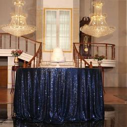 """PartyDelight Navy Blue Sequin Tablecloth Round 108"""" Table Li"""