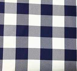 GFCC Navy Blue/White Gingham Checkered Polyester Tablecloth