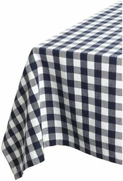 DII Navy and White Checkers Tablecloth 60 x 84