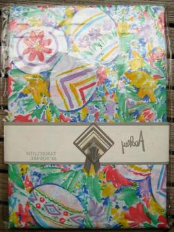 "NEW Audrey 52"" Square Floral/Easter/Spring table cloth; Cott"