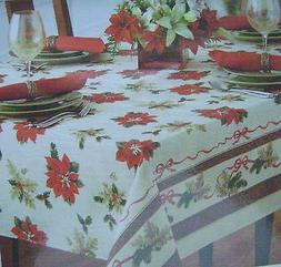 New Benson Mills Christmas Holiday Fabric Tablecloth Poinset