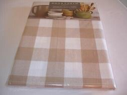 New! Cloth Tan Checkered Kitchen Tablecloth Dining Table Clo