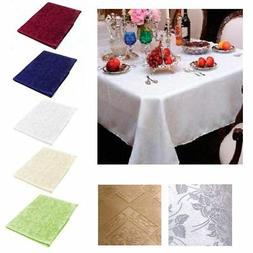"New Damask Table Cloth Linens 52"" X 70"" Rectangular Cover Fl"