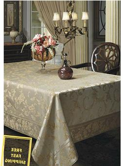 New Dinning Holiday Harmony Scroll Silver-Gold Fabric Tablec