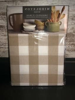 New! Farmhouse Tan Kitchen Tablecloth Dining Table Cloth 52""