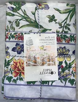 "NEW April Cornell Floral Tablecloth ""IRIS ECRU"" Cotton 70"" R"