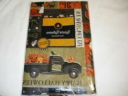 New! Holiday Happy Halloween Vinyl Tablecloth Kitchen Dining