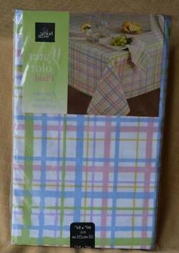 New Pastel Plaid Table Cloth tablecloth Easter Oval 60 x 84