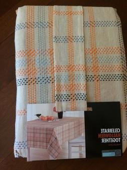 """NEW  THANKSGIVING 70"""" ROUND LINEN TABLECLOTH -Fall Colors Cl"""