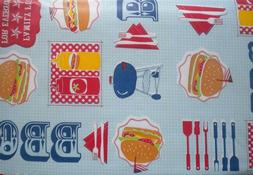 New Summer Fun Vinyl Table cloth BBQ Barbecue Theme Oblong R